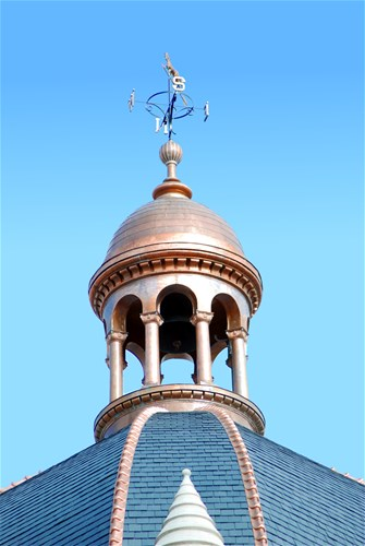 Copper cupola, finial, and weathervane of the Historic Fayette County Courthouse, Lexington, KY 2017